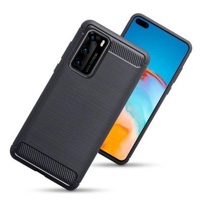Huawei P40 hoesje, Gel case geborsteld metaal en carbonlook, Zwart
