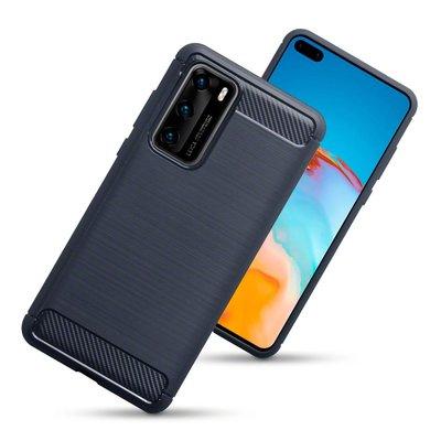 Huawei P40 hoesje, Gel case geborsteld metaal en carbonlook, Navy blauw