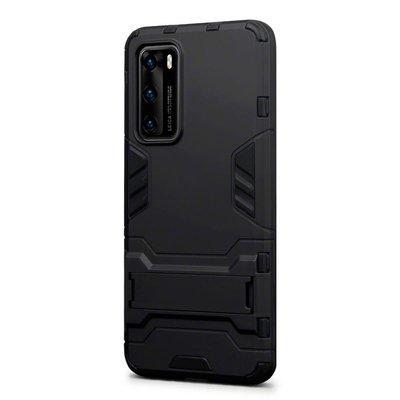 Huawei P40 hoesje, Dubbel gelaagde pantser case met standaard, Zwart