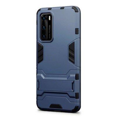 Huawei P40 hoesje, Dubbel gelaagde pantser case met standaard, Navy blauw