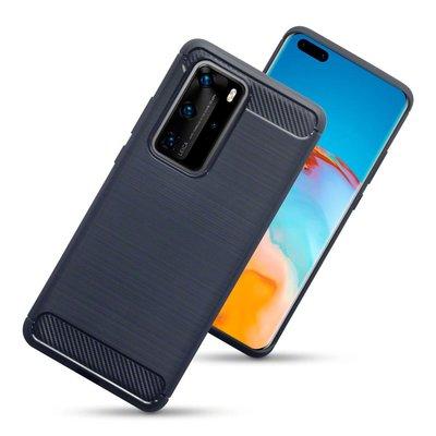 Huawei P40 Pro hoesje, Gel case geborsteld metaal en carbonlook, Navy blauw