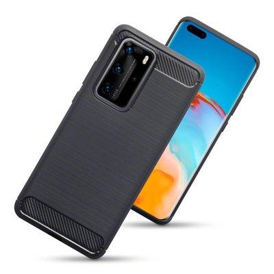 Huawei P40 Pro hoesje, Gel case geborsteld metaal en carbonlook, Zwart