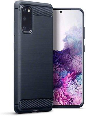 Samsung Galaxy S20 hoesje, Gel case geborsteld metaal en carbonlook, Navy blauw