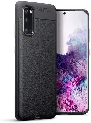 Samsung Galaxy S20 hoesje, Gel case lederlook, Zwart