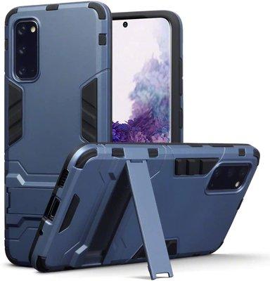 Samsung Galaxy S20 hoesje, Dubbel gelaagde pantser case met standaard, Navy blauw