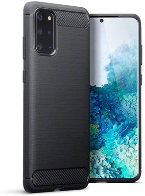 Samsung Galaxy S20 Plus (S20+) hoesje, Gel case geborsteld metaal en carbonlook, Zwart