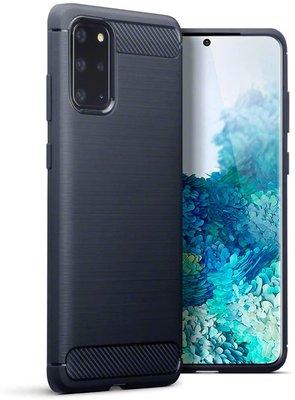 Samsung Galaxy S20 Plus (S20+) hoesje, Gel case geborsteld metaal en carbonlook, Navy blauw