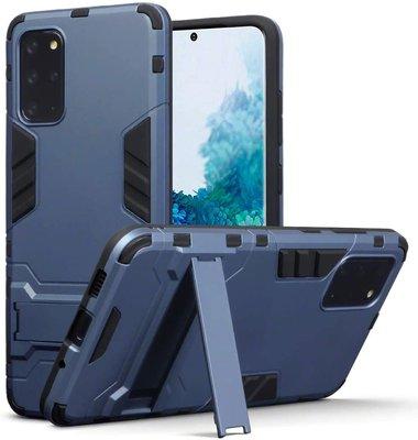 Samsung Galaxy S20 Plus (S20+) hoesje, Dubbel gelaagde pantser case met standaard, Navy blauw