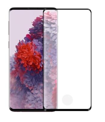Samsung Galaxy S20 Plus (S20+) screenprotector, Met uitsparing vingerafdrukscanner, Full screen tempered glass, Zwarte randen