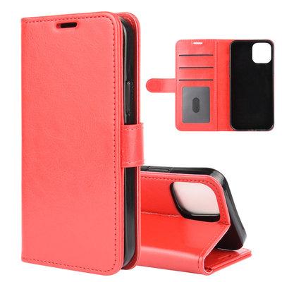 Apple iPhone 12 / iPhone 12 Pro hoesje, MobyDefend Wallet Book Case (Sluiting Achterkant), Rood