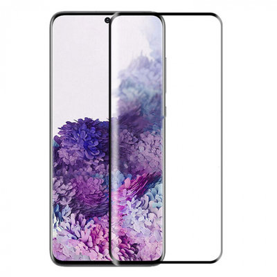 Samsung Galaxy S20 Plus (S20+) screenprotector, Zonder uitsparing vingerafdrukscanner, Full screen tempered glass, Zwarte randen
