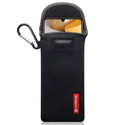Hoesje voor Samsung Galaxy A42, Shocksock neopreen pouch met karabijnhaak, insteekhoesje, zwart