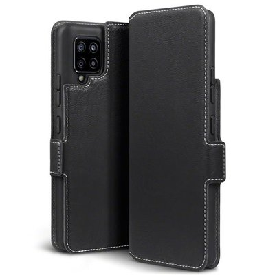 Samsung Galaxy A42 hoesje, MobyDefend slim-fit extra dunne bookcase, Zwart