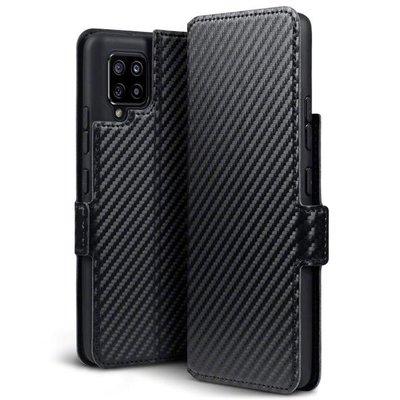 Samsung Galaxy A42 hoesje, MobyDefend slim-fit carbonlook bookcase, Zwart