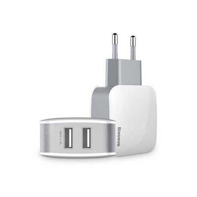 Baseus Wall charger, Oplader met 2 USB-poorten, Wit-Grijs