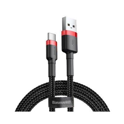 Baseus USB-C naar USB-A kabel, 2 Meter, Zwart-Rood