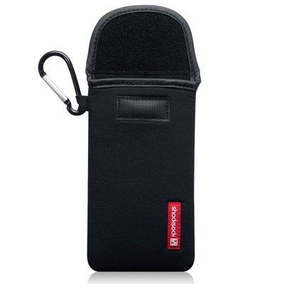 Hoesje voor Samsung Galaxy S21 Ultra, Shocksock neopreen pouch met karabijnhaak, insteekhoesje, zwart