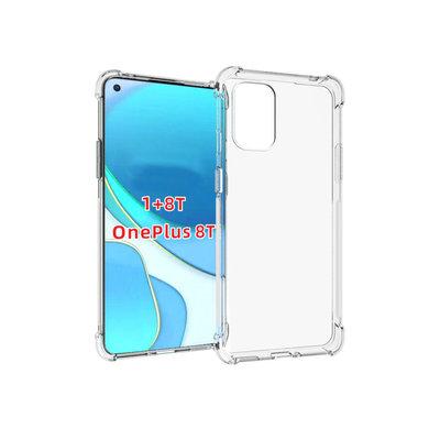 OnePlus 8T hoesje, Transparante shock proof gel case met verstevigde hoeken, Volledig doorzichtig
