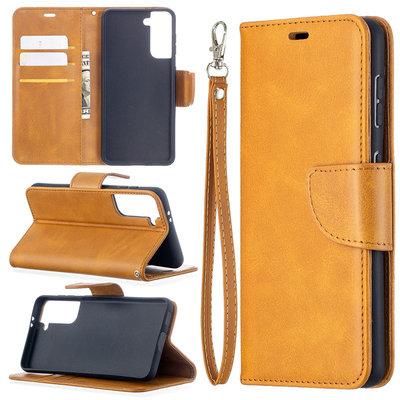 Samsung Galaxy S21 hoesje, Wallet bookcase, Lichtbruin