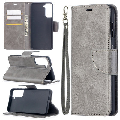 Samsung Galaxy S21 hoesje, Wallet bookcase, Grijs