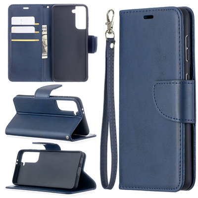 Samsung Galaxy S21 hoesje, Wallet bookcase, Blauw