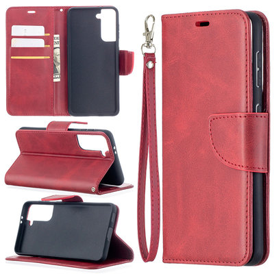 Samsung Galaxy S21 hoesje, Wallet bookcase, Rood