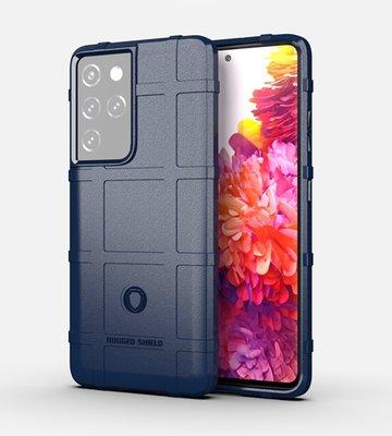 Samsung Galaxy S21 Ultra hoesje, Rugged shield TPU Gelcase, Blauw