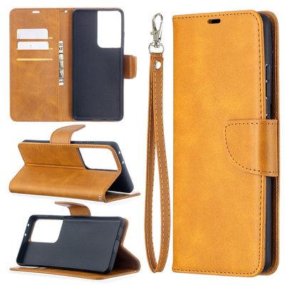 Samsung Galaxy S21 Ultra hoesje, Wallet bookcase, Lichtbruin