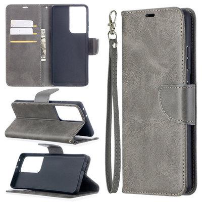 Samsung Galaxy S21 Ultra hoesje, Wallet bookcase, Grijs