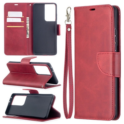 Samsung Galaxy S21 Ultra hoesje, Wallet bookcase, Rood
