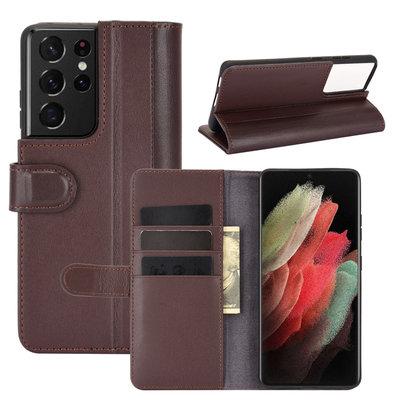 Samsung Galaxy S21 Ultra hoesje, Luxe wallet bookcase, Bruin