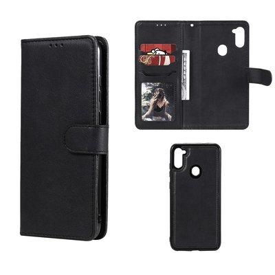 Samsung Galaxy M11 / A11 hoesje, MobyDefend Luxe 2-in-1 Wallet Book Case Met Uitneembare Backcover, Zwart