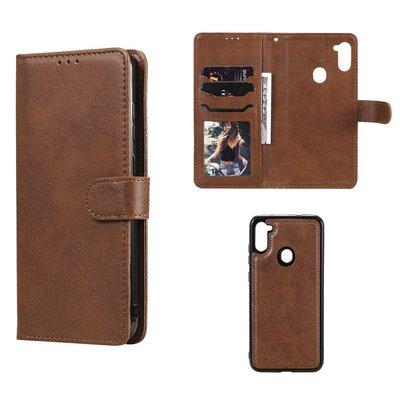 Samsung Galaxy M11 / A11 hoesje, MobyDefend Luxe 2-in-1 Wallet Book Case Met Uitneembare Backcover, Bruin