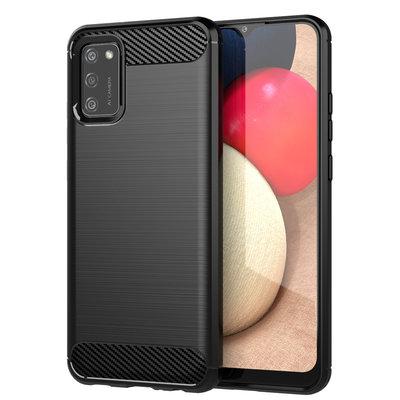 Samsung Galaxy A02s hoesje, Gel case geborsteld metaal en carbonlook, Zwart
