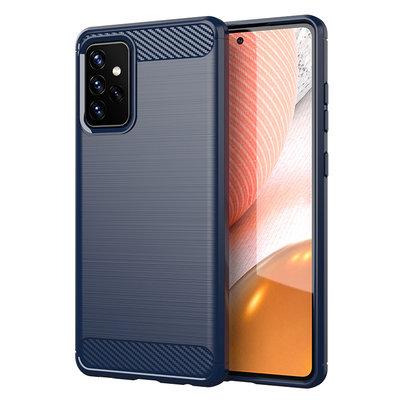 Samsung Galaxy A72 hoesje, Gel case geborsteld metaal en carbonlook, Navy blauw