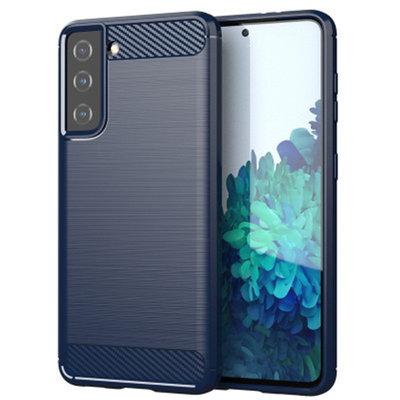 Samsung Galaxy S21 hoesje, Gel case geborsteld metaal en carbonlook, Navy blauw