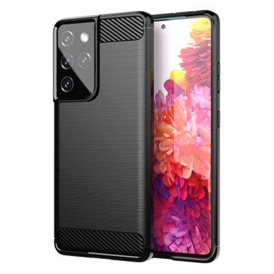 Samsung Galaxy S21 Ultra hoesje, Gel case geborsteld metaal en carbonlook, Zwart