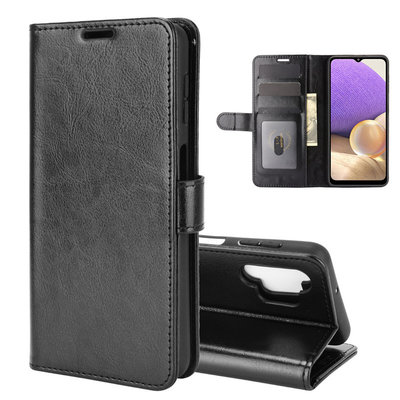 Samsung Galaxy A32 (4G) hoesje, MobyDefend Wallet Book Case (Sluiting Achterkant), Zwart