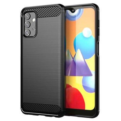 Samsung Galaxy A32 (4G) hoesje, MobyDefend TPU Gelcase, Geborsteld Metaal + Carbonlook, Zwart