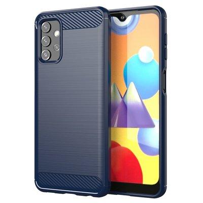 Samsung Galaxy A32 (4G) hoesje, MobyDefend TPU Gelcase, Geborsteld Metaal + Carbonlook, Navy blauw