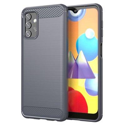 Samsung Galaxy A32 (4G) hoesje, MobyDefend TPU Gelcase, Geborsteld Metaal + Carbonlook, Grijs