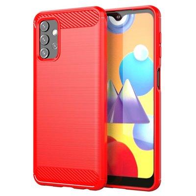 Samsung Galaxy A32 (4G) hoesje, MobyDefend TPU Gelcase, Geborsteld Metaal + Carbonlook, Rood