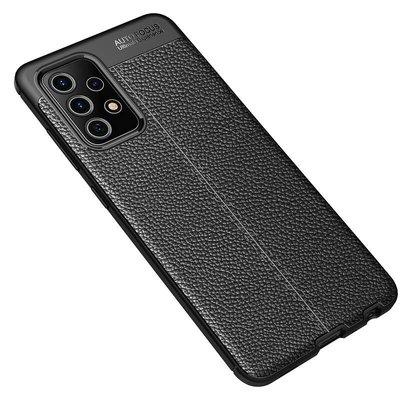 Samsung Galaxy A72 hoesje, MobyDefend TPU Gelcase, Lederlook, Zwart