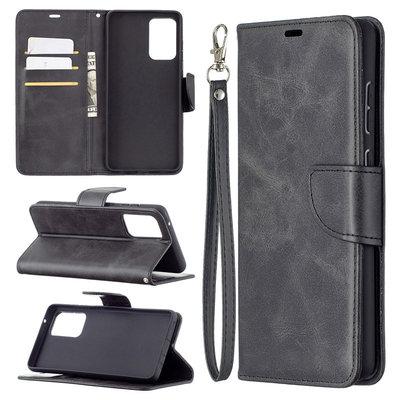 Samsung Galaxy A72 hoesje, MobyDefend Wallet Book Case Met Koord, Zwart