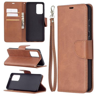 Samsung Galaxy A72 hoesje, MobyDefend Wallet Book Case Met Koord, Bruin