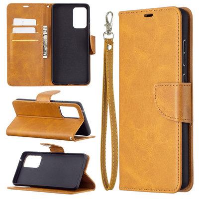 Samsung Galaxy A72 hoesje, MobyDefend Wallet Book Case Met Koord, Lichtbruin