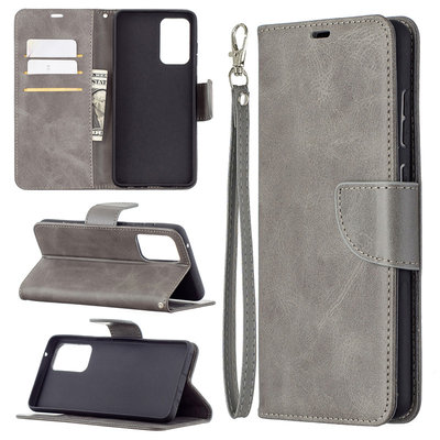 Samsung Galaxy A72 hoesje, MobyDefend Wallet Book Case Met Koord, Grijs