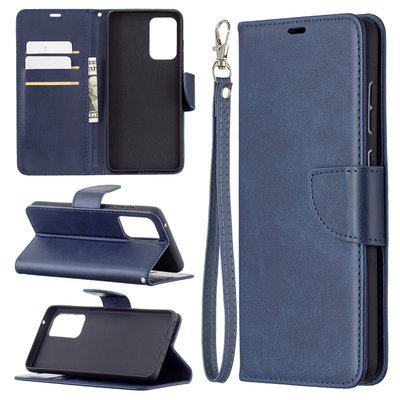 Samsung Galaxy A72 hoesje, MobyDefend Wallet Book Case Met Koord, Blauw