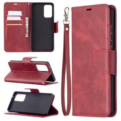 Samsung Galaxy A72 hoesje, MobyDefend Wallet Book Case Met Koord, Rood