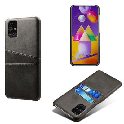 Samsung Galaxy M11 / A11 hoesje, MobyDefend Lederen Backcover Met Vakjes Voor Pasjes, Zwart